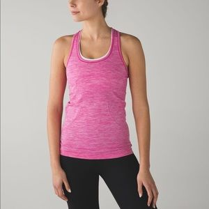 Pink heathered Lululemon Swiftly Racerback tank
